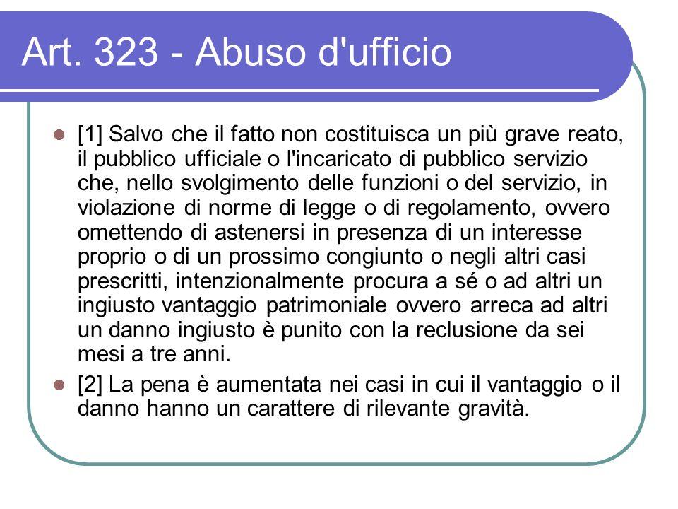 Art. 323 - Abuso d'ufficio [1] Salvo che il fatto non costituisca un più grave reato, il pubblico ufficiale o l'incaricato di pubblico servizio che, n