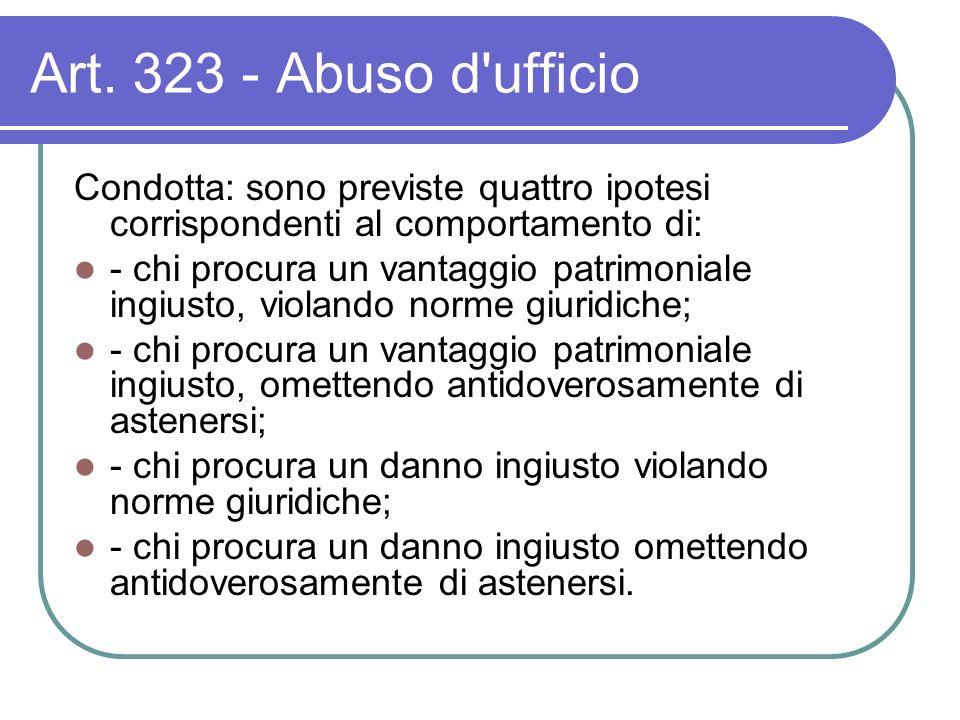 Art. 323 - Abuso d'ufficio Condotta: sono previste quattro ipotesi corrispondenti al comportamento di: - chi procura un vantaggio patrimoniale ingiust