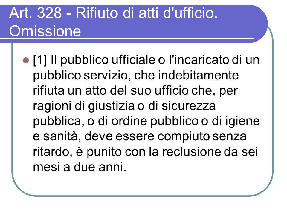 Art. 328 - Rifiuto di atti d ufficio.