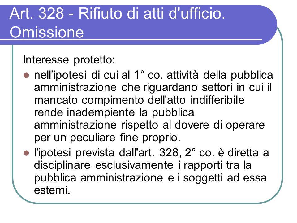 Art. 328 - Rifiuto di atti d ufficio. Omissione Interesse protetto: nellipotesi di cui al 1° co.