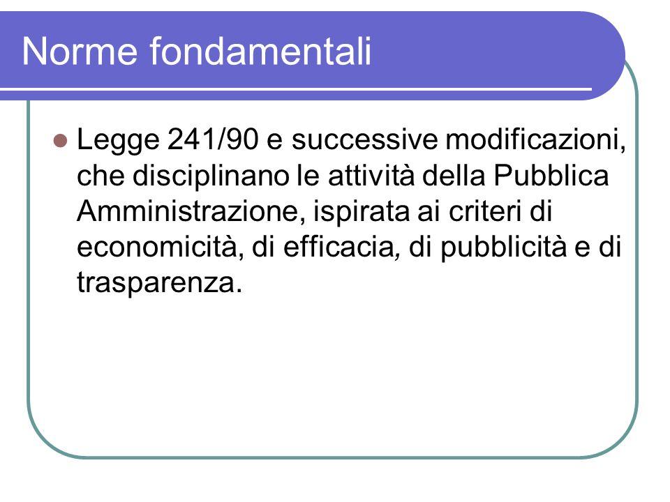Legge 241/90 e successive modificazioni, che disciplinano le attività della Pubblica Amministrazione, ispirata ai criteri di economicità, di efficacia, di pubblicità e di trasparenza.