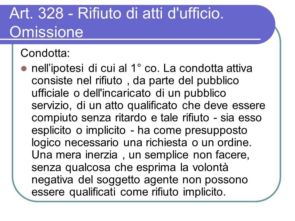 Art. 328 - Rifiuto di atti d ufficio. Omissione Condotta: nellipotesi di cui al 1° co.