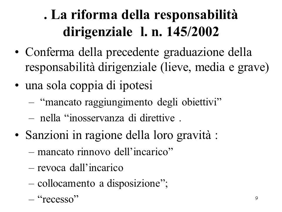 10 molteplici questioni interpretative la qualificazione della responsabilità dirigenziale il suo accertamento ; la precisazione delle misure adottabili in caso di acclarata responsabilità.
