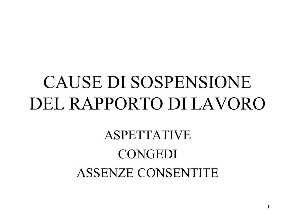 1 CAUSE DI SOSPENSIONE DEL RAPPORTO DI LAVORO ASPETTATIVE CONGEDI ASSENZE CONSENTITE