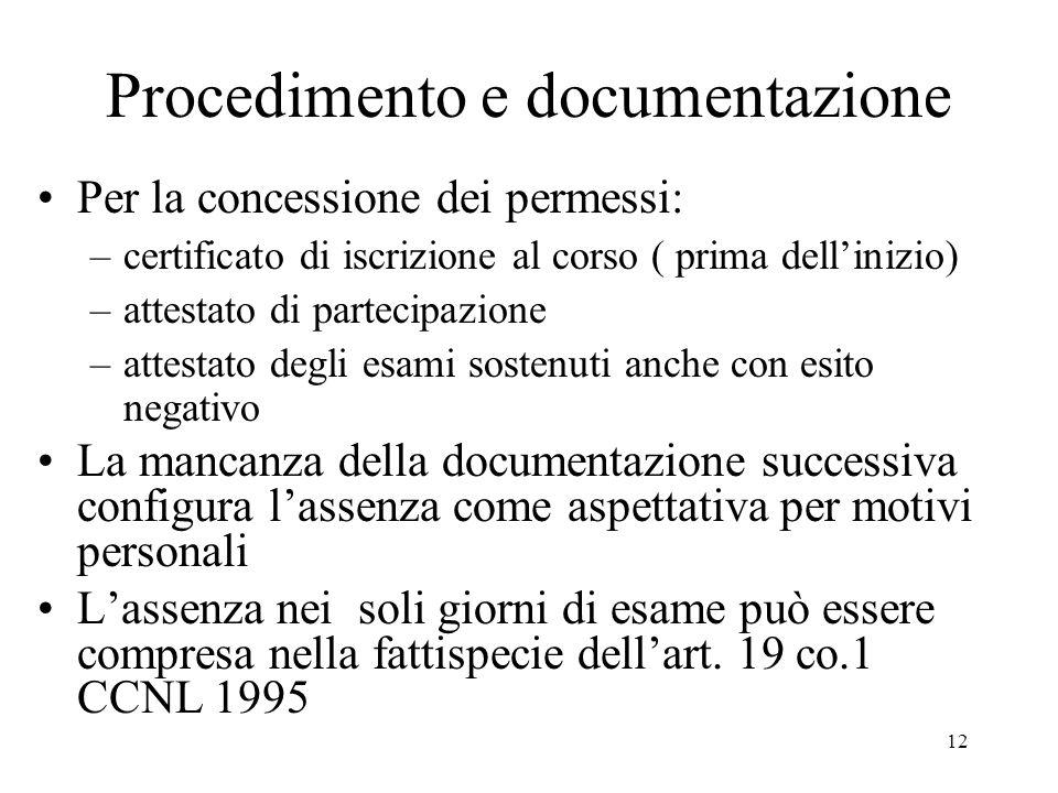 12 Procedimento e documentazione Per la concessione dei permessi: –certificato di iscrizione al corso ( prima dellinizio) –attestato di partecipazione