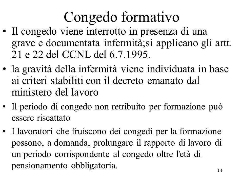 14 Congedo formativo Il congedo viene interrotto in presenza di una grave e documentata infermità;si applicano gli artt. 21 e 22 del CCNL del 6.7.1995
