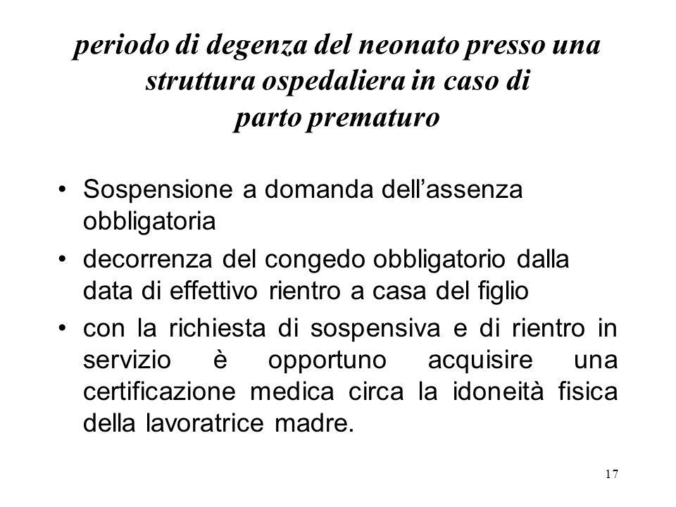 17 periodo di degenza del neonato presso una struttura ospedaliera in caso di parto prematuro Sospensione a domanda dellassenza obbligatoria decorrenz