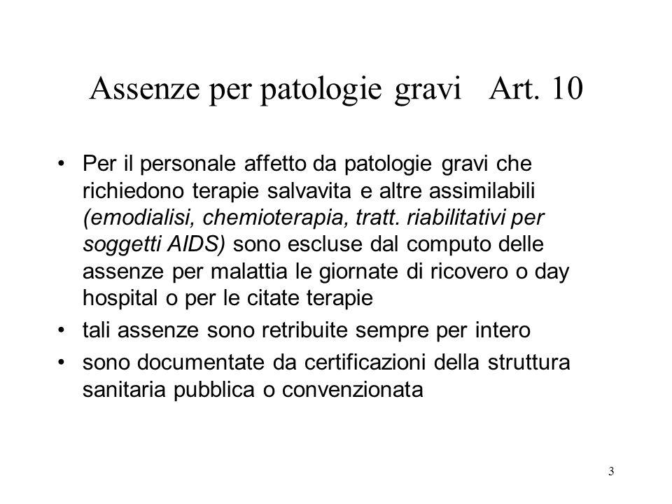 3 Assenze per patologie gravi Art. 10 Per il personale affetto da patologie gravi che richiedono terapie salvavita e altre assimilabili (emodialisi, c