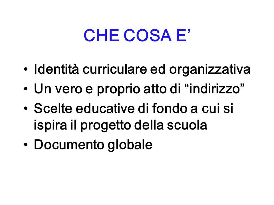 CHE COSA E Identità curriculare ed organizzativa Un vero e proprio atto di indirizzo Scelte educative di fondo a cui si ispira il progetto della scuola Documento globale