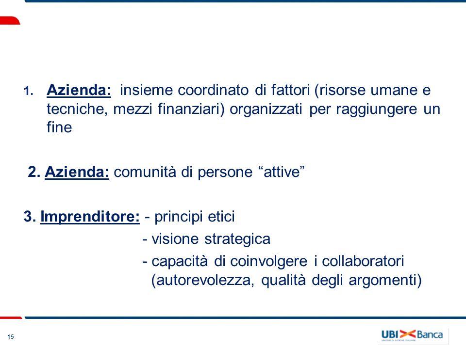 15 1. Azienda: insieme coordinato di fattori (risorse umane e tecniche, mezzi finanziari) organizzati per raggiungere un fine 2. Azienda: comunità di