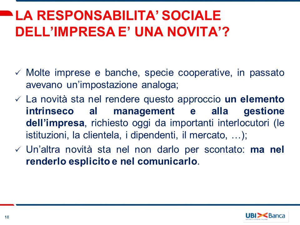 18 LA RESPONSABILITA SOCIALE DELLIMPRESA E UNA NOVITA.