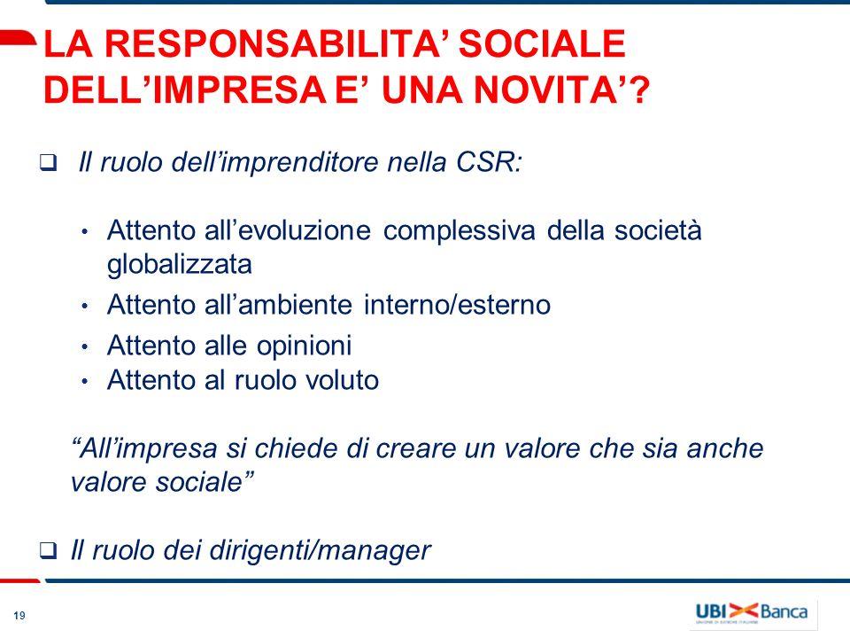 19 LA RESPONSABILITA SOCIALE DELLIMPRESA E UNA NOVITA? Il ruolo dellimprenditore nella CSR: Attento allevoluzione complessiva della società globalizza