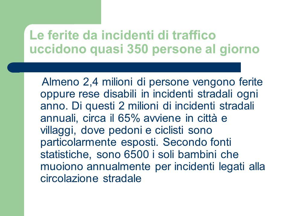 Le ferite da incidenti di traffico uccidono quasi 350 persone al giorno Almeno 2,4 milioni di persone vengono ferite oppure rese disabili in incidenti stradali ogni anno.