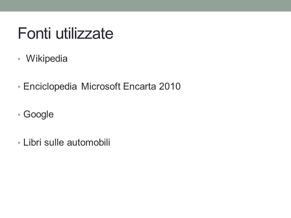 Fonti utilizzate Wikipedia Enciclopedia Microsoft Encarta 2010 Google Libri sulle automobili