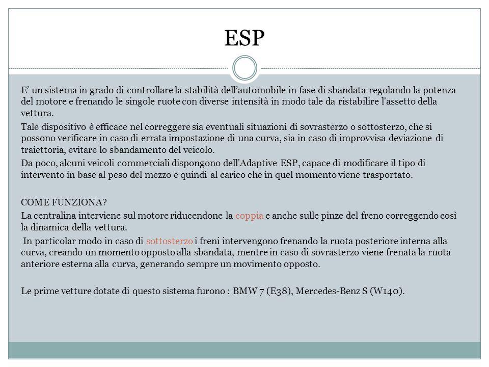 ESP E un sistema in grado di controllare la stabilità dellautomobile in fase di sbandata regolando la potenza del motore e frenando le singole ruote c