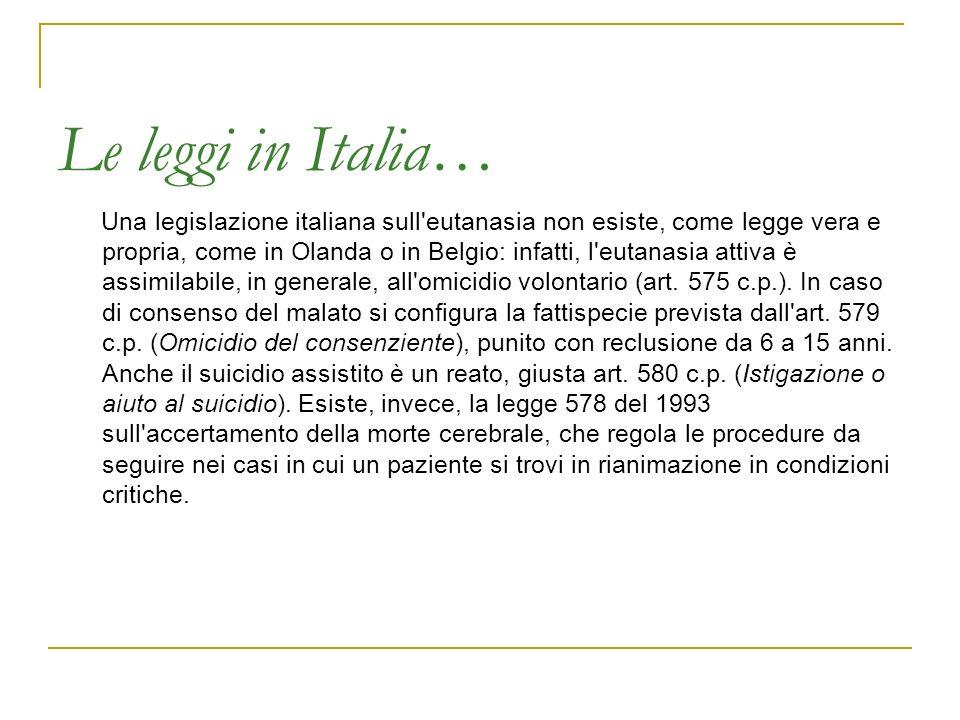 Le leggi in Italia… Una legislazione italiana sull'eutanasia non esiste, come legge vera e propria, come in Olanda o in Belgio: infatti, l'eutanasia a