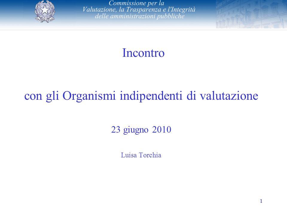 1 Incontro con gli Organismi indipendenti di valutazione 23 giugno 2010 Luisa Torchia 1