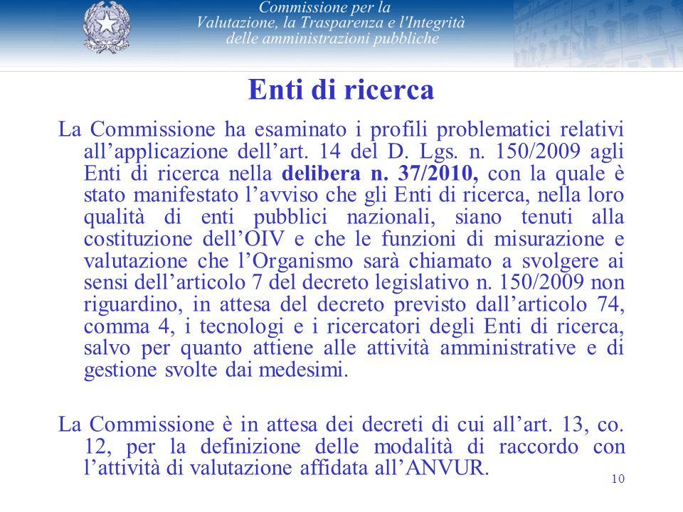 10 Enti di ricerca La Commissione ha esaminato i profili problematici relativi allapplicazione dellart.