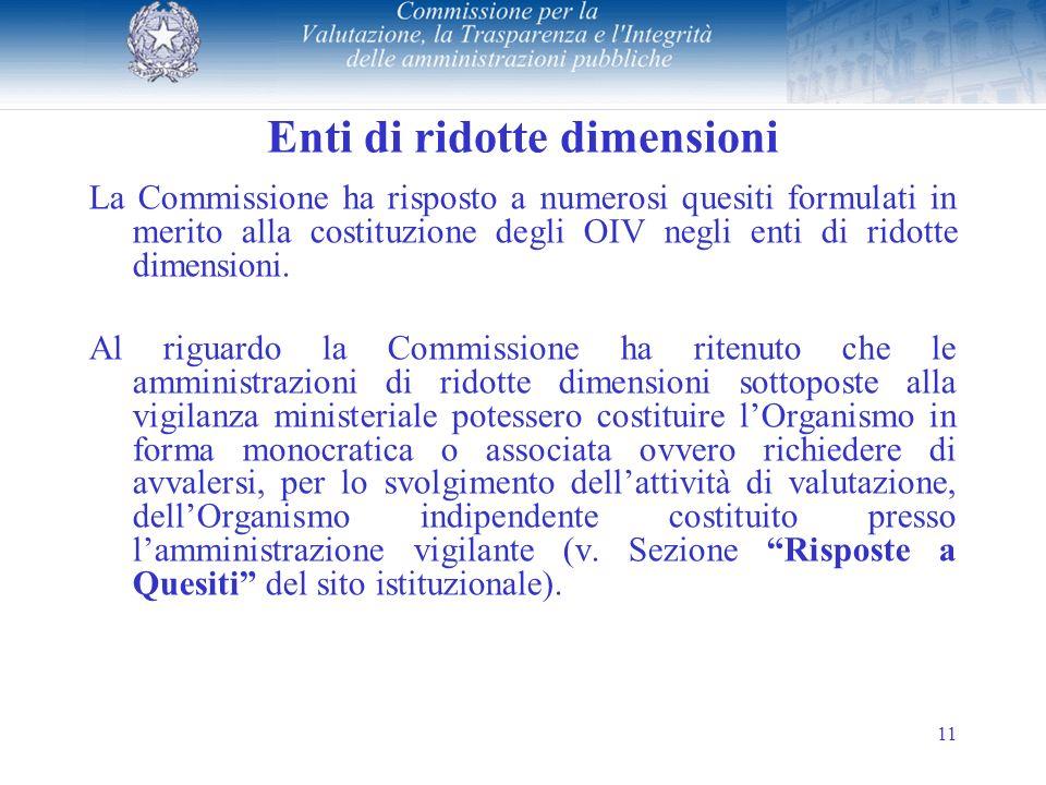 11 Enti di ridotte dimensioni La Commissione ha risposto a numerosi quesiti formulati in merito alla costituzione degli OIV negli enti di ridotte dimensioni.