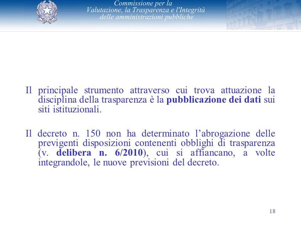 18 Il principale strumento attraverso cui trova attuazione la disciplina della trasparenza è la pubblicazione dei dati sui siti istituzionali.