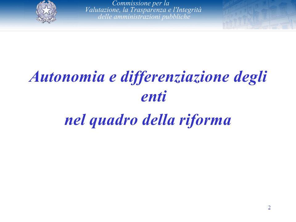 2 Autonomia e differenziazione degli enti nel quadro della riforma