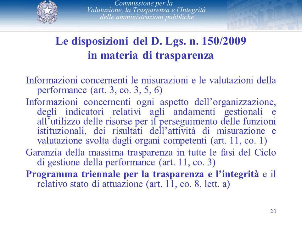 20 Le disposizioni del D. Lgs. n.