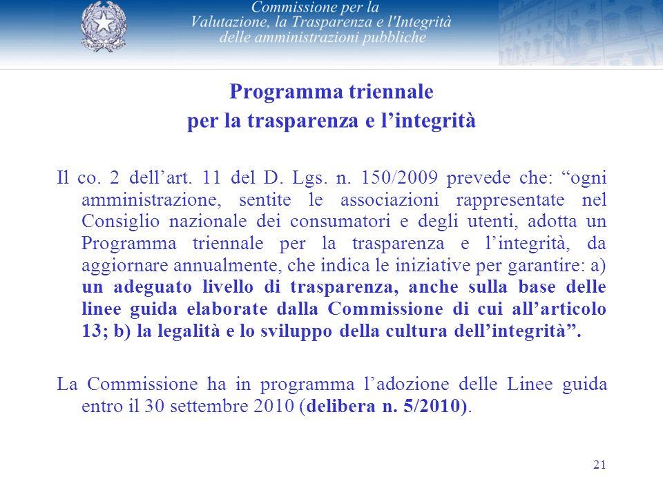 21 Programma triennale per la trasparenza e lintegrità Il co.