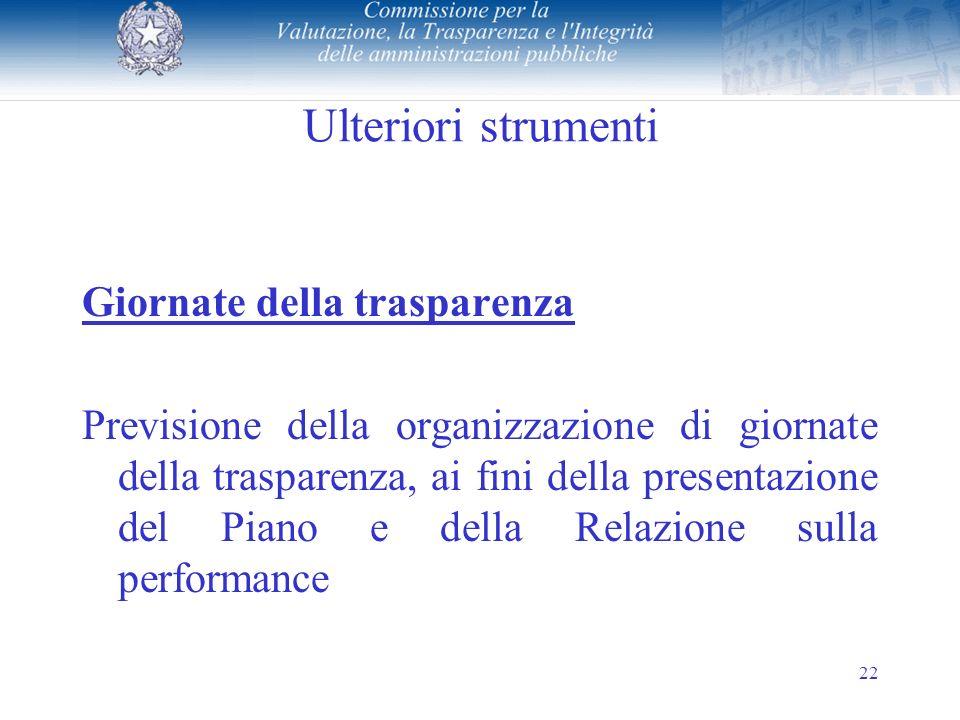 22 Ulteriori strumenti Giornate della trasparenza Previsione della organizzazione di giornate della trasparenza, ai fini della presentazione del Piano e della Relazione sulla performance
