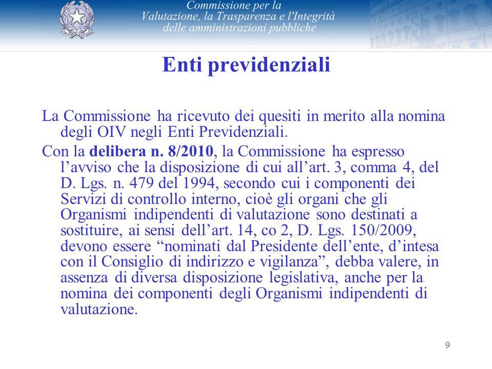 9 Enti previdenziali La Commissione ha ricevuto dei quesiti in merito alla nomina degli OIV negli Enti Previdenziali.