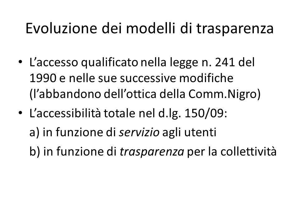 Evoluzione dei modelli di trasparenza Laccesso qualificato nella legge n.