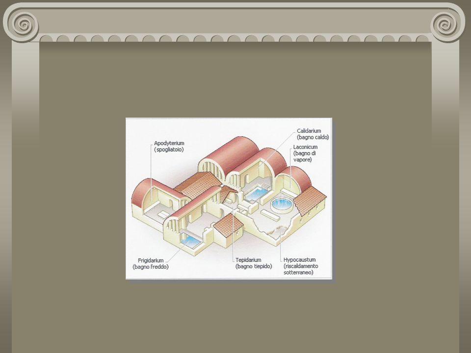 Nell architettura greca e romana antica questi edifici, appositamente concepiti ed attrezzati per funzionare come bagni pubblici riscaldati ( il loro