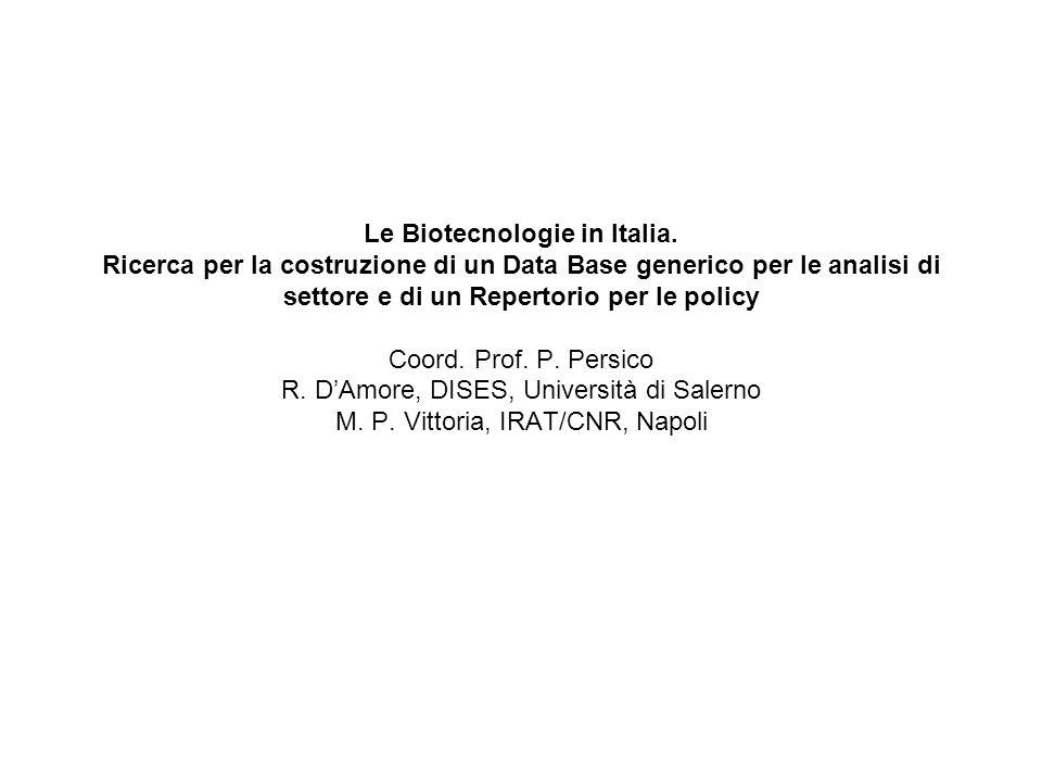 Le Biotecnologie in Italia.