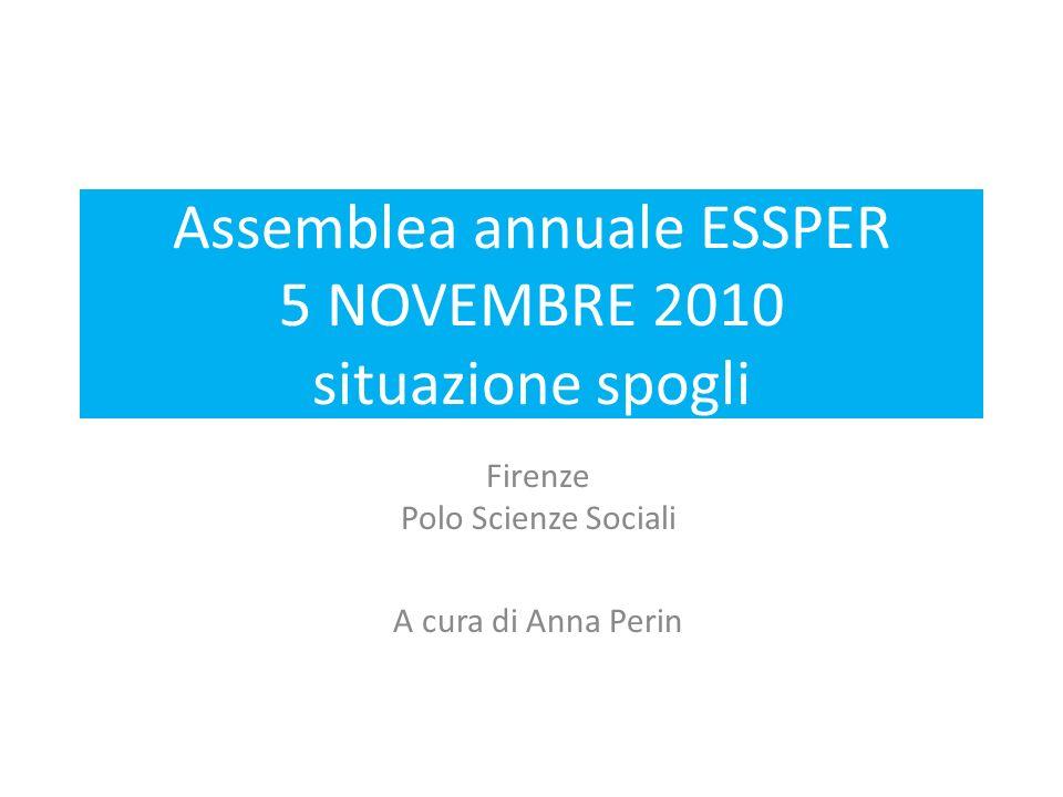 Assemblea annuale ESSPER 5 NOVEMBRE 2010 situazione spogli Firenze Polo Scienze Sociali A cura di Anna Perin