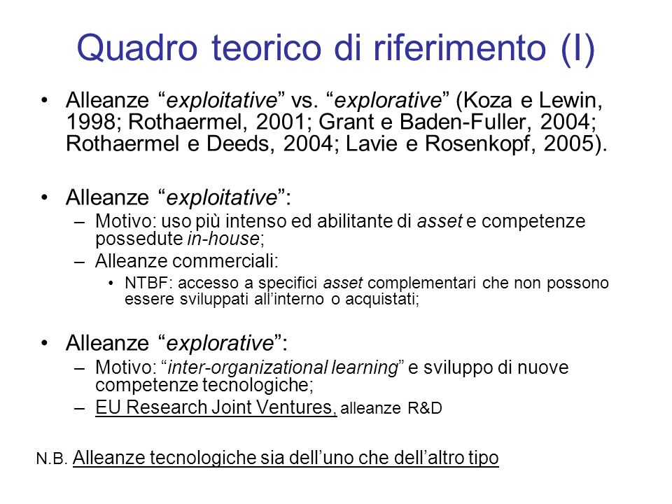Quadro teorico di riferimento (I) Alleanze exploitative vs.