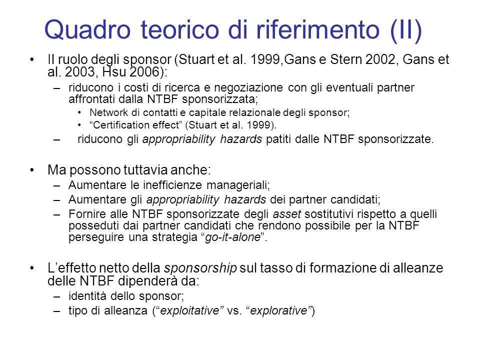 Il ruolo degli sponsor (Stuart et al. 1999,Gans e Stern 2002, Gans et al.