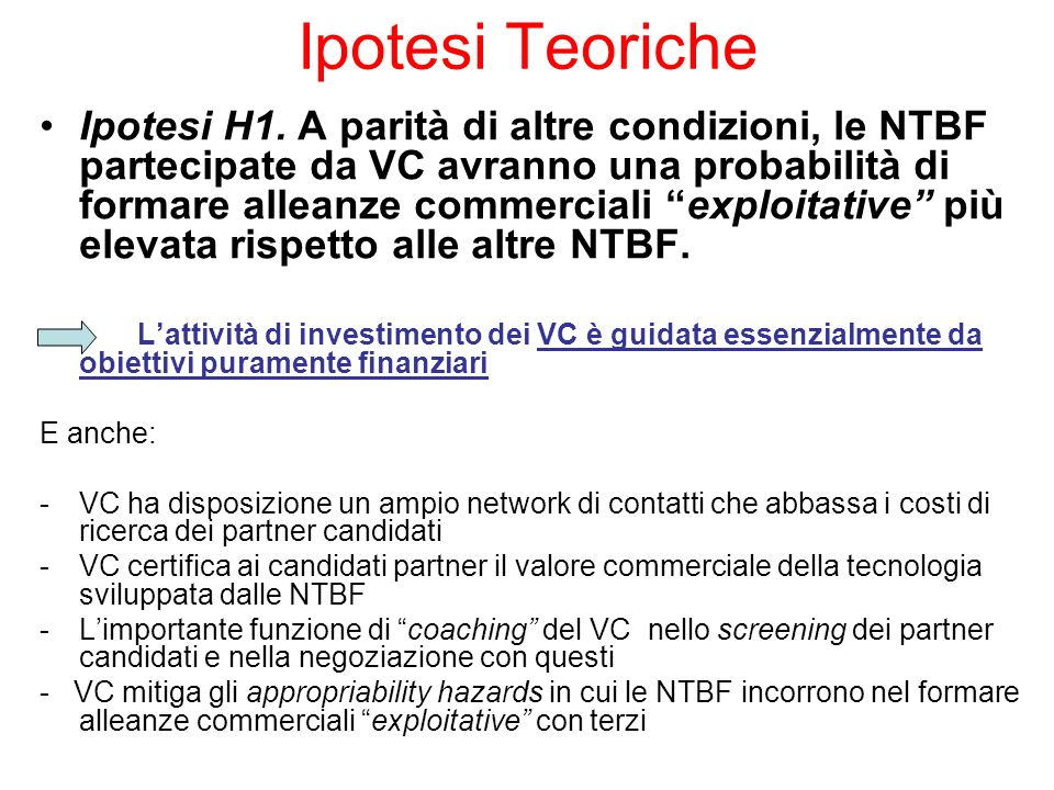 Ipotesi Teoriche Ipotesi H1.