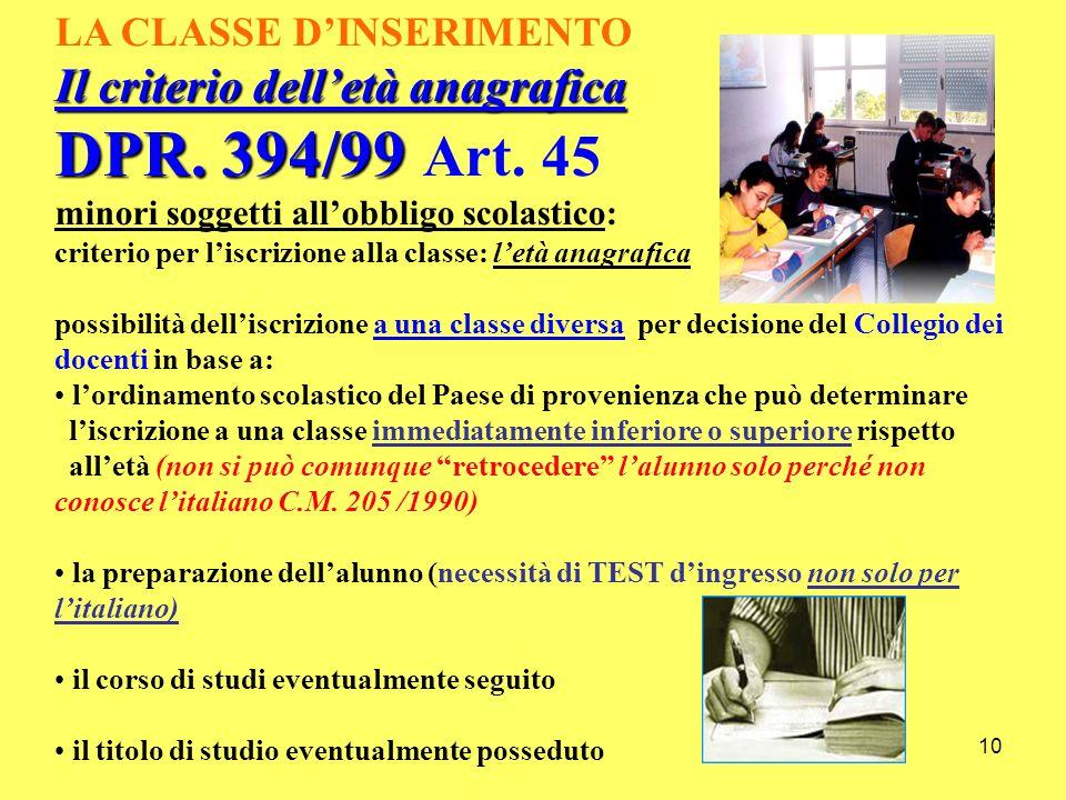 10 LA CLASSE DINSERIMENTO Il criterio delletà anagrafica DPR. 394/99 DPR. 394/99 Art. 45 minori soggetti allobbligo scolastico: criterio per liscrizio