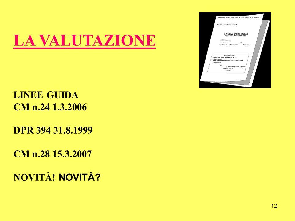 12 LA VALUTAZIONE LINEE GUIDA CM n.24 1.3.2006 DPR 394 31.8.1999 CM n.28 15.3.2007 NOVITÀ! NOVITÀ?