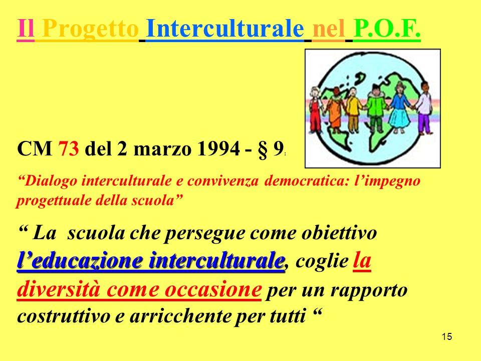 15 Il Progetto Interculturale nel P.O.F. CM 73 del 2 marzo 1994 - § 9 : Dialogo interculturale e convivenza democratica: limpegno progettuale della sc