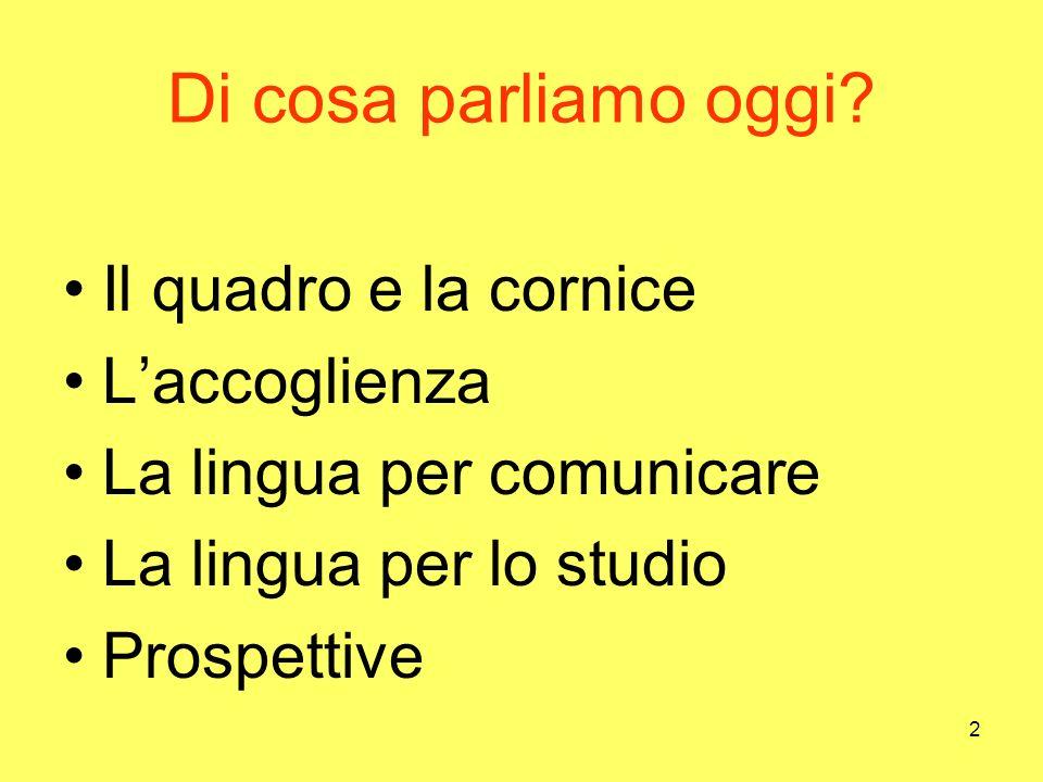 2 Di cosa parliamo oggi? Il quadro e la cornice Laccoglienza La lingua per comunicare La lingua per lo studio Prospettive