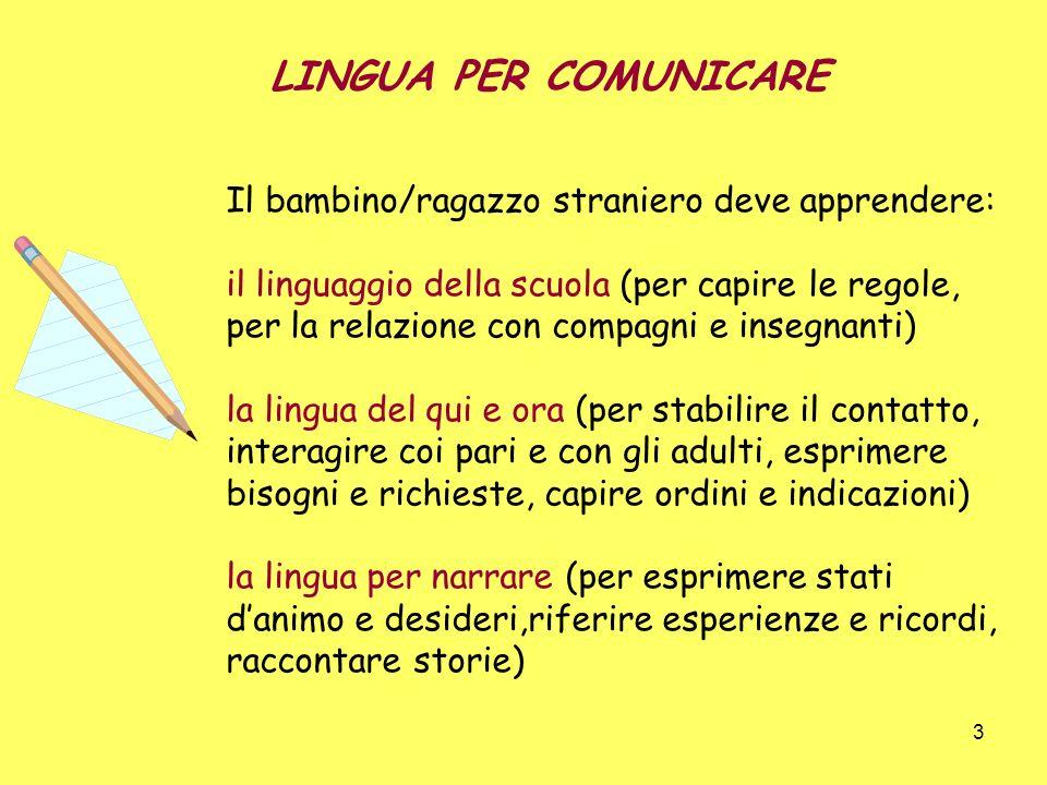 3 Il bambino/ragazzo straniero deve apprendere: il linguaggio della scuola (per capire le regole, per la relazione con compagni e insegnanti) la lingu