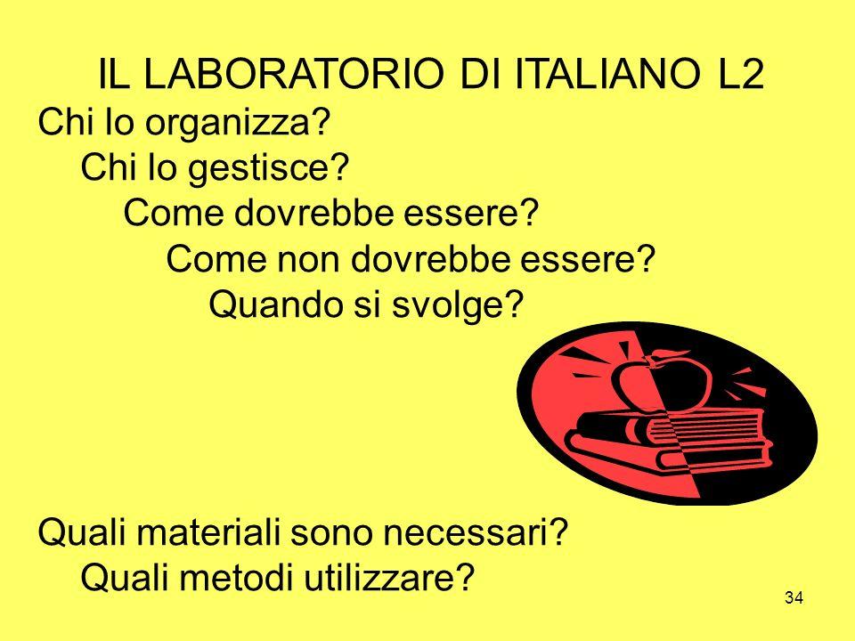 34 IL LABORATORIO DI ITALIANO L2 Chi lo organizza? Chi lo gestisce? Come dovrebbe essere? Come non dovrebbe essere? Quando si svolge? Quali materiali