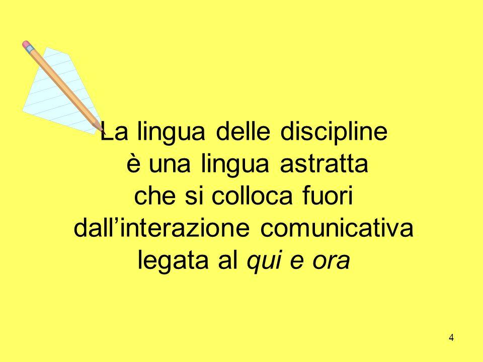 4 La lingua delle discipline è una lingua astratta che si colloca fuori dallinterazione comunicativa legata al qui e ora