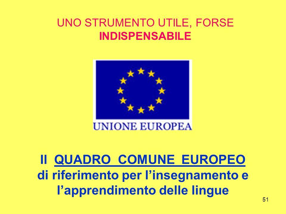 51 Il QUADRO COMUNE EUROPEO di riferimento per linsegnamento e lapprendimento delle lingue UNO STRUMENTO UTILE, FORSE INDISPENSABILE