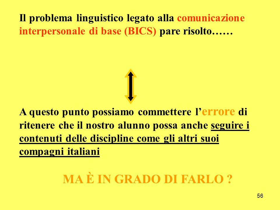 56 Il problema linguistico legato alla comunicazione interpersonale di base (BICS) pare risolto…… A questo punto possiamo commettere l errore di riten