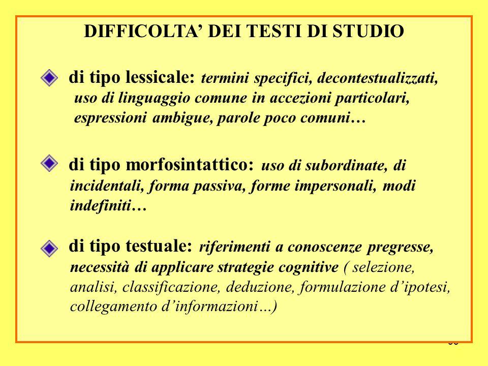 58 DIFFICOLTA DEI TESTI DI STUDIO di tipo lessicale: termini specifici, decontestualizzati, uso di linguaggio comune in accezioni particolari, espress