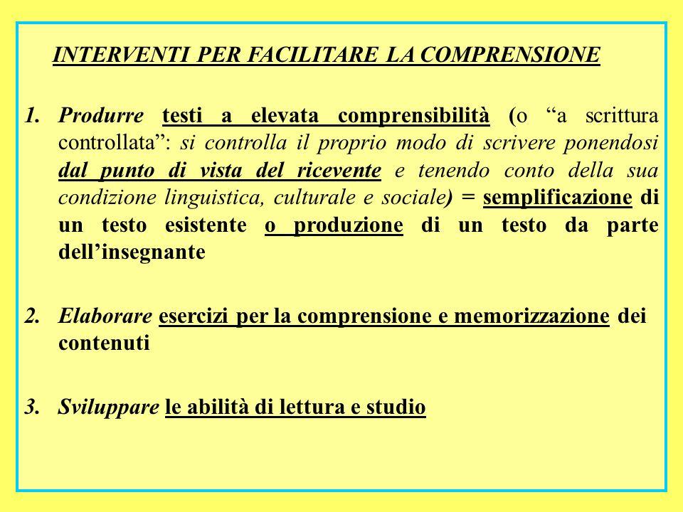 67 INTERVENTI PER FACILITARE LA COMPRENSIONE 1.Produrre testi a elevata comprensibilità (o a scrittura controllata: si controlla il proprio modo di sc