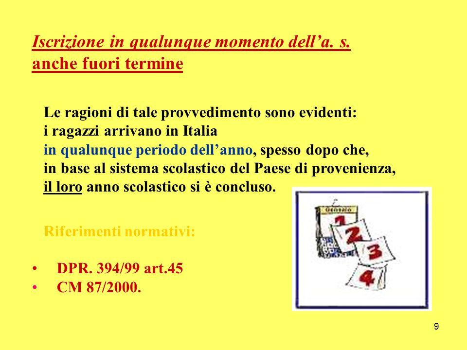 9 Iscrizione in qualunque momento della. s. anche fuori termine Le ragioni di tale provvedimento sono evidenti: i ragazzi arrivano in Italia in qualun