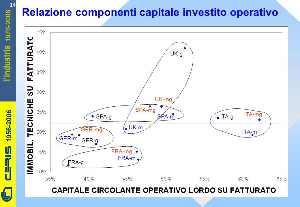CERIS-CNR 1956-2006 1976-2006 lindustria 14 Relazione componenti capitale investito operativo ITA-g UK-m FRA-g FRA-mg FRA-m GER-m ITA-mg UK-mg GER-g SPA-g GER-mg SPA-mg SPA-m ITA-m UK-g