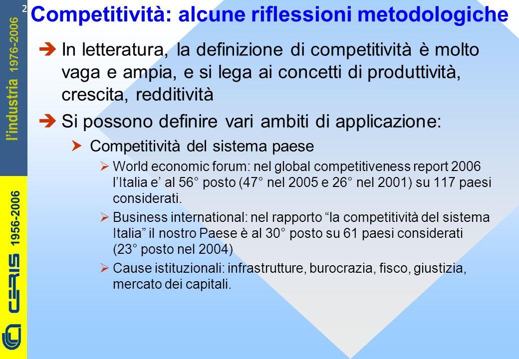 CERIS-CNR 1956-2006 1976-2006 lindustria 2 Competitività: alcune riflessioni metodologiche In letteratura, la definizione di competitività è molto vaga e ampia, e si lega ai concetti di produttività, crescita, redditività Si possono definire vari ambiti di applicazione: Competitività del sistema paese World economic forum: nel global competitiveness report 2006 lItalia e al 56° posto (47° nel 2005 e 26° nel 2001) su 117 paesi considerati.